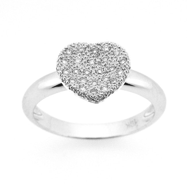 MODERN HEART SHAPE DIAMOND RING PAVE SET 18K WHITE GOLD 0.29CTW