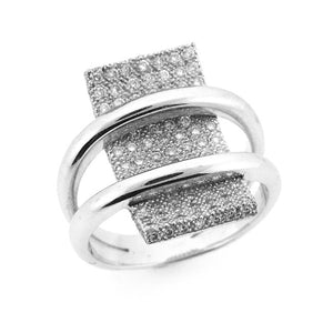 MODERN SHAPED DIAMOND RING MICRO PAVE SET 18K WHITE GOLD 0.77CTW