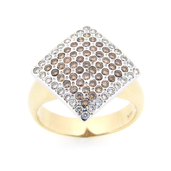 CHAMPAGNE DIAMOND RING TWO TONE 14K WHITE YELLOW GOLD 0.97CTW