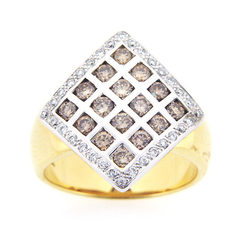 CHAMPAGNE DIAMOND RING 18K WHITE AND YELLOW GOLD 1.05CTW