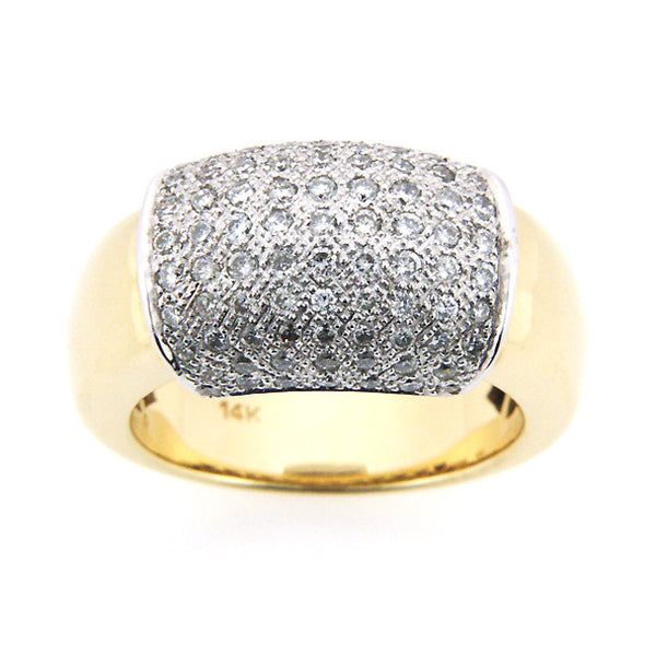 DOME DIAMOND RIGHT HAND RING PAVE SET 14K WHITE YELLOW GOLD 1CTW
