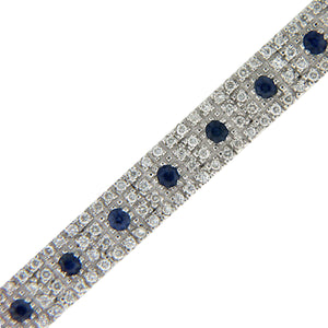 BLUE SAPPHIRE AND DIAMOND BRACELET 18K WHITE GOLD 2.88CTW