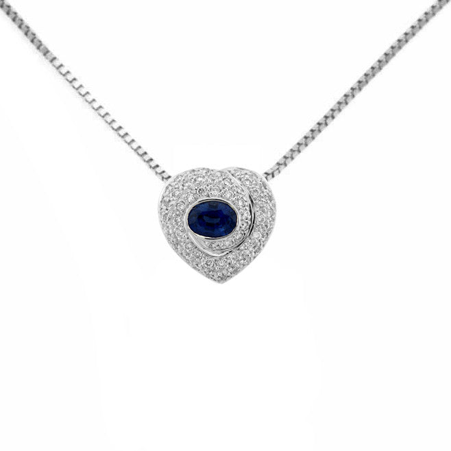 OVAL SAPPHIRE DIAMOND HEART PENDANT NECKLACE 18K WHITE GOLD 0.68CTW