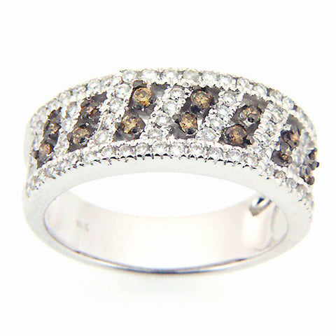 CHAMPAGNE DIAMOND RING BAND PAVE SET 18K WHITE GOLD 0.61CTW
