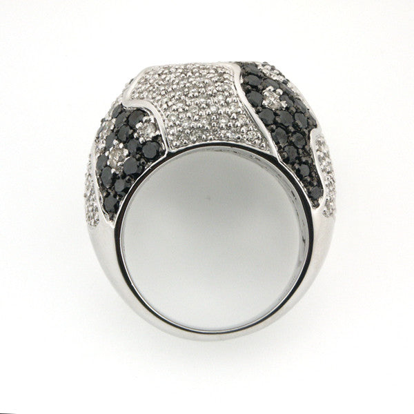 BLACK DIAMOND RIGHT HAND COCKTAIL RING STUNNING PAVE SET WHITE GOLD 3.09CTW