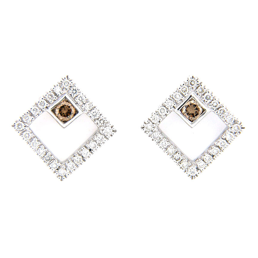 yellow gold and solid in square shaped stud earrings white mens ctw diamond