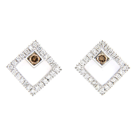 SQUARE SHAPED CHAMPAGNE DIAMOND EARRINGS 14K WHITE GOLD 0.40CTW