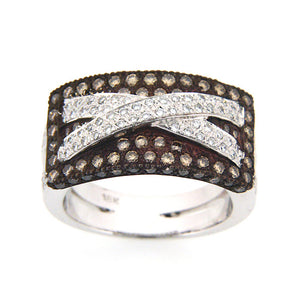CHAMPAGNE AND WHITE DIAMOND RING 18K WHITE GOLD 1.22CTW