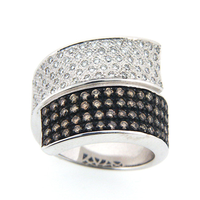 STUNNING CHAMPAGNE DIAMOND RING PAVE SET 18K WHITE GOLD 1.31CTW