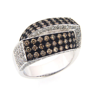 CHAMPAGNE DIAMOND RING PAVE SET 18K WHITE GOLD 1.83CTW