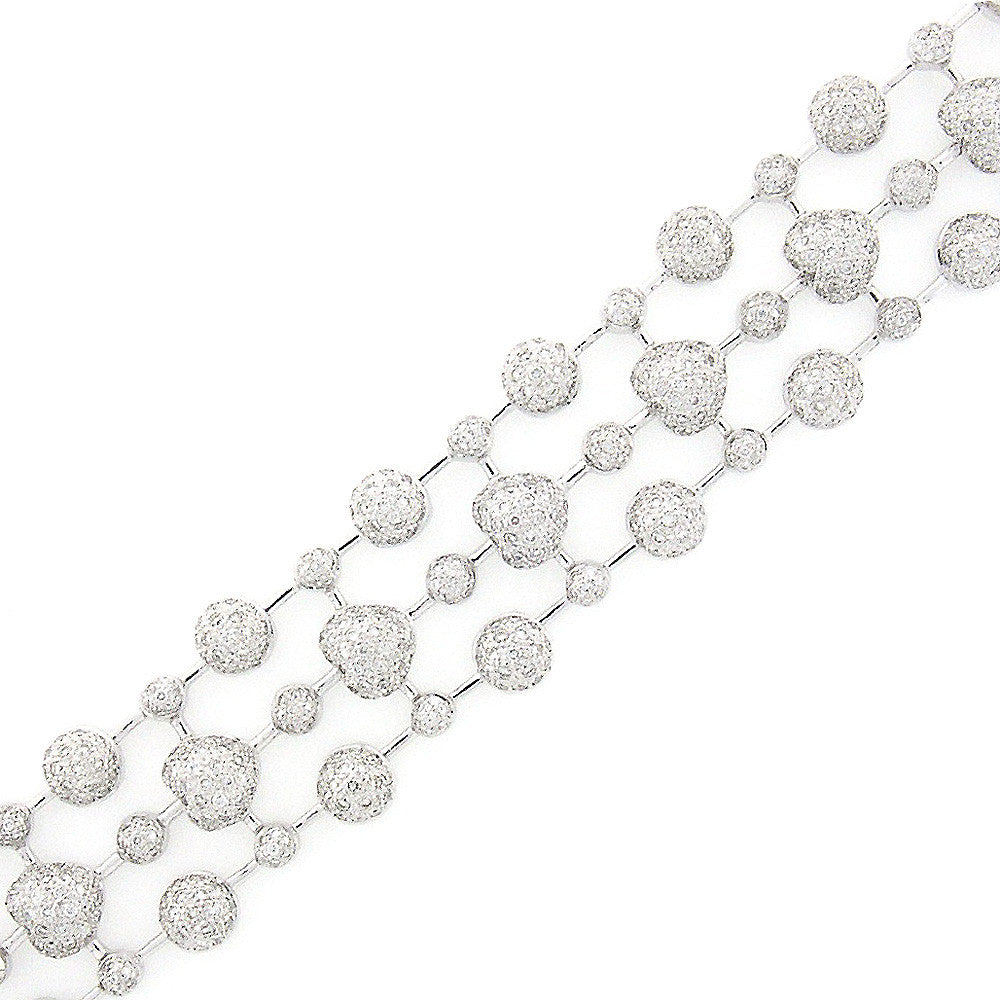 ONE OF A KIND BEAUTIFUL DIAMOND HEART BRACELET PAVE SET IN 18K GOLD 2.44CTW