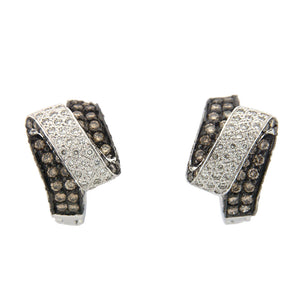 ELEGANT CHAMPAGNE DIAMOND EARRINGS IN 18KT WHITE GOLD 1.82CTW