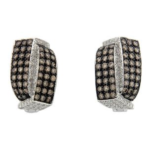 18K STUNNING CHAMPAGNE DIAMOND EARRINGS WHITE GOLD 2.61CTW