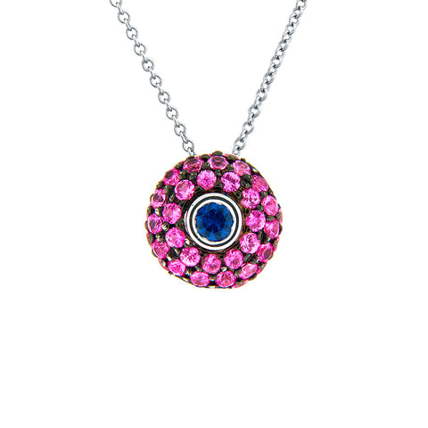 PINK AND BLUE SAPPHIRE PENDANT PAVE SET 18K WHITE GOLD 1CTW