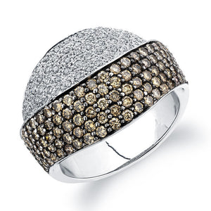 CHAMPAGNE AND DIAMOND RING PAVE SET 18K WHITE GOLD 1.62CTW