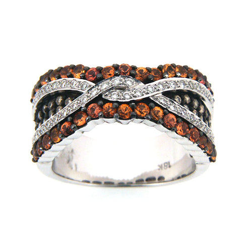 CHAMPAGNE DIAMOND RING ORANGE SAPPHIRE 18K WHITE GOLD 1.45CTW
