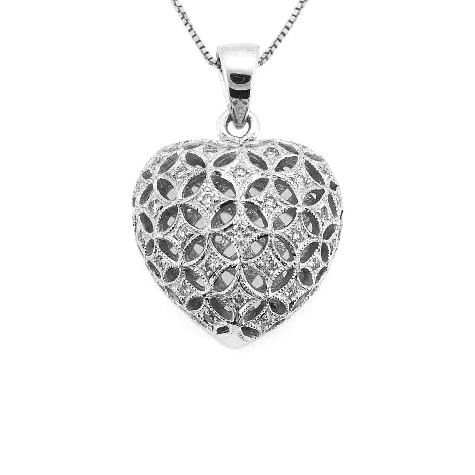 Gorgeous diamond heart pendant necklace 18k white gold 021ctw gorgeous diamond heart pendant necklace 18k white gold 021ctw perry b designs mozeypictures Gallery