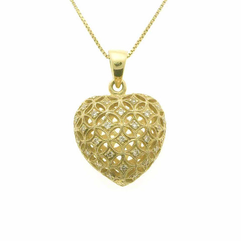 DIAMOND HEART PENDANT NECKLACE IN 18K YELLOW GOLD 0.21CTW