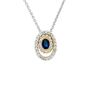 BLUE SAPPHIRE DIAMOND CIRCLE PENDANT NECKLACE 18K GOLD 0.34CTW