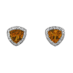 TRIANGLE SHAPED CITRINE DIAMOND EARRINGS IN HALO 18K WHITE GOLD 2.04CTW
