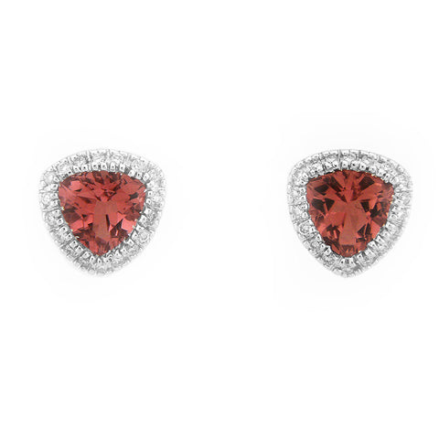 TRIANGLE SHAPED DIAMOND PINK TOURMALINE EARRINGS 18K WHITE GOLD 2.25CTW