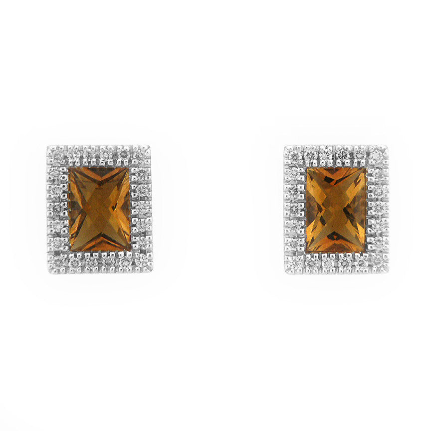 CITRINE DIAMOND EARRINGS EMERALD SHAPED WITH HALO 18K WHITE GOLD 1.62CTW