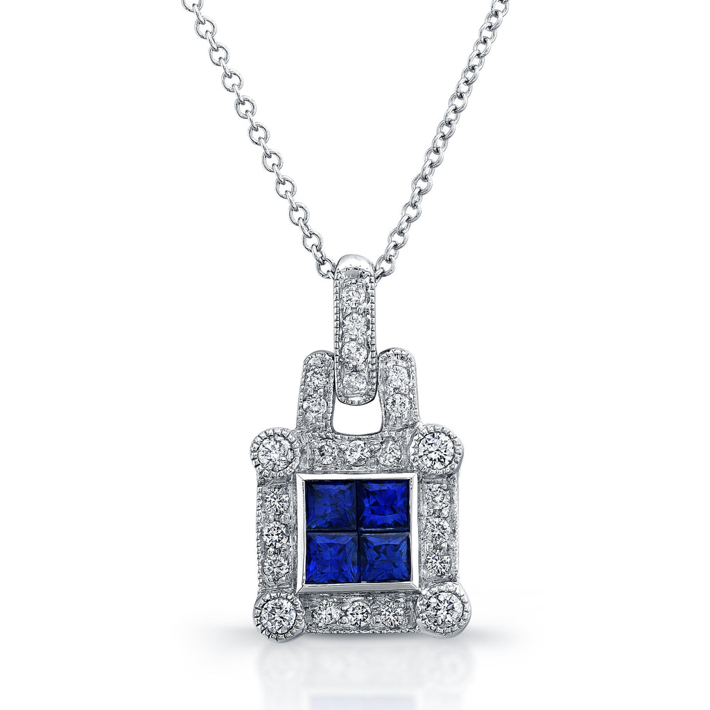 Elegant diamond sapphire pendant invisible setting 18k white gold elegant diamond sapphire pendant invisible setting 18k white gold 091ctw aloadofball Choice Image