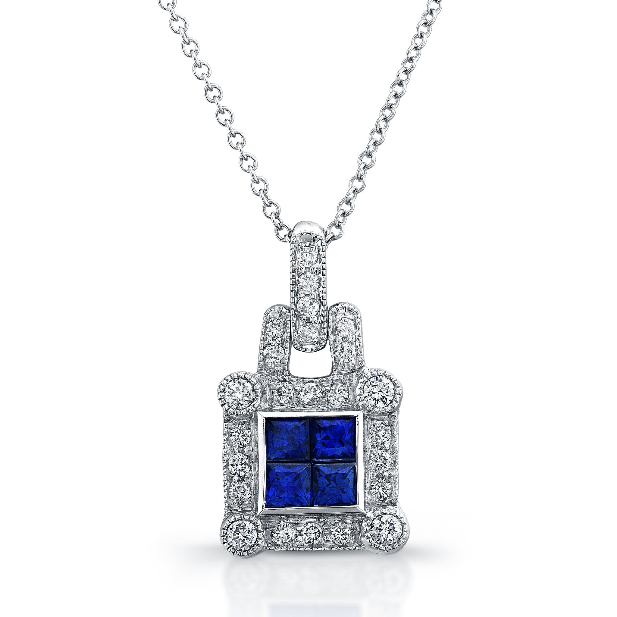 ELEGANT DIAMOND SAPPHIRE PENDANT INVISIBLE SETTING 18K WHITE GOLD 0.91CTW