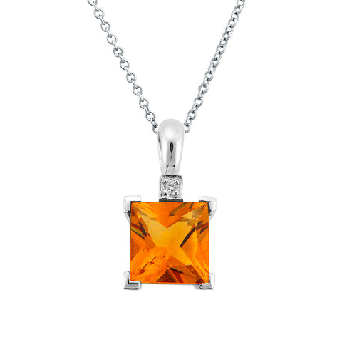 DAZZLING CITRINE DIAMOND PENDANT 14K WHITE GOLD 1.31CTW