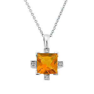 MODERN CITRINE DIAMOND PENDANT NECKLACE 14K WHITE GOLD 1.39CTW