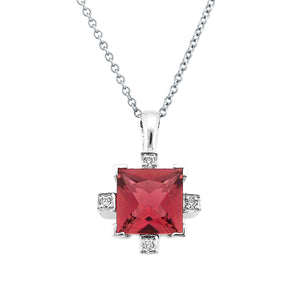 PRINCESS CUT PINK TOURMALINE DIAMOND PENDANT 14K WHITE GOLD 1.44CTW