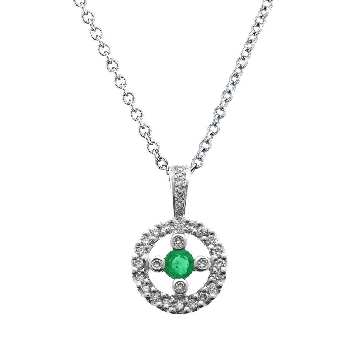 Emerald and diamond circle pendant necklace 18k white gold 027ctw emerald and diamond circle pendant necklace 18k white gold 027ctw aloadofball Images