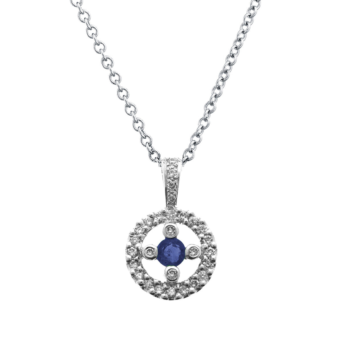 DIAMOND BLUE SAPPHIRE CIRCLE PENDANT 18K WHITE GOLD 0.30CTW