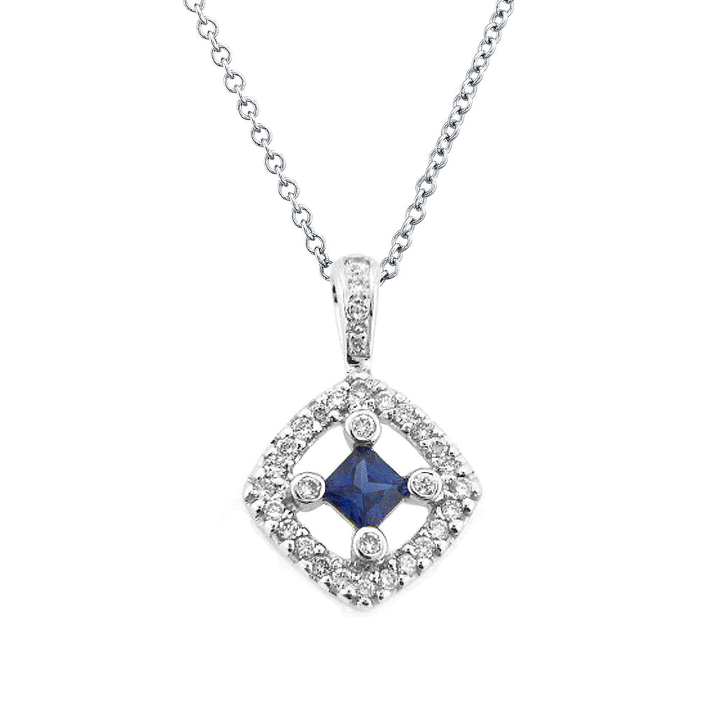 Blue sapphire diamond pendant necklace 18k white gold 039ctw blue sapphire diamond pendant necklace 18k white gold 039ctw aloadofball Image collections