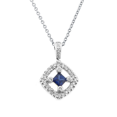BLUE SAPPHIRE DIAMOND PENDANT NECKLACE 18K WHITE GOLD 0.39CTW