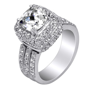 Pave Set Diamond Engagement Ring in 18kt (1.50 ctw) for a 2ct Cushion Center