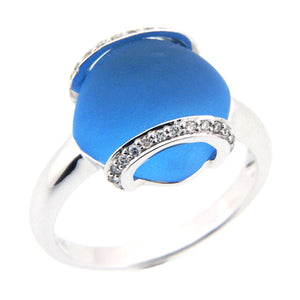 DIAMOND RING WITH FROSTED BLUE TOPAZ 18K WHITE GOLD