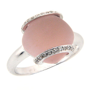 GENUINE DIAMOND RING WITH ROSE QUARTZ IN 18K WHITE GOLD