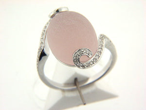 GENUINE DIAMOND RING FROSTED ROSE QUARTZ IN 18K WHITE GOLD