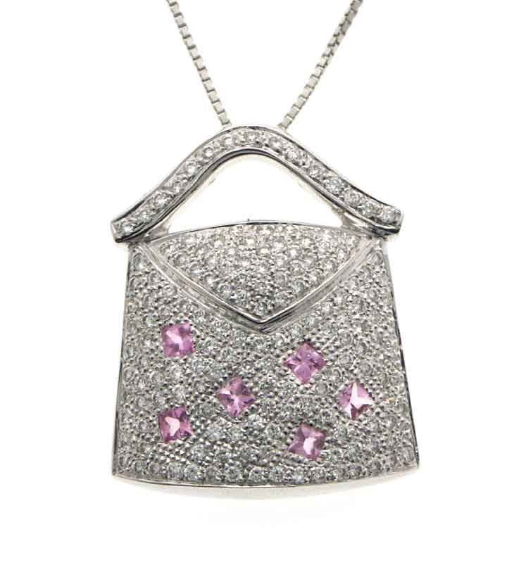 purse pendant plated silver clear sterling necklace new cz rhodium closeout