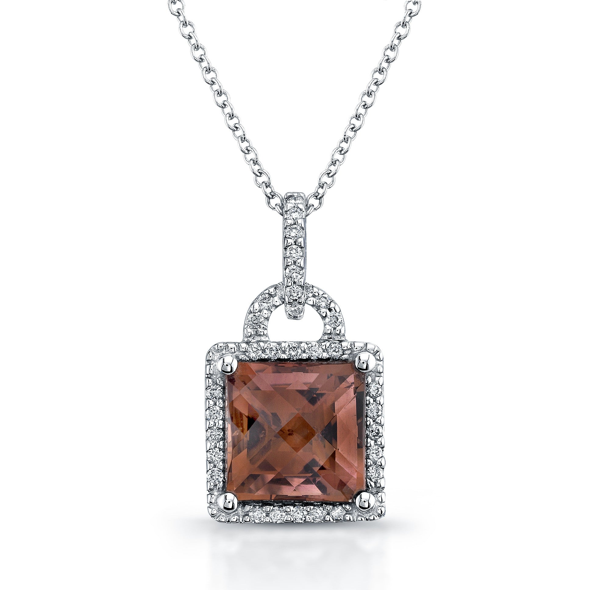 PRINCESS CUT PINK TOURMALINE DIAMOND PENDANT NECKLACE 18K WHITE GOLD 2.84CTW