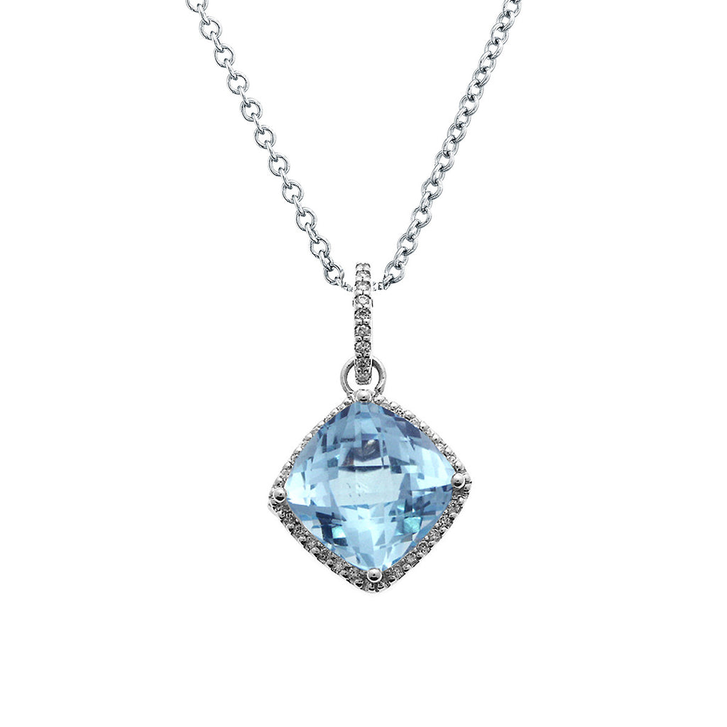 Cushion cut blue topaz diamond pendant necklace 18k white gold cushion cut blue topaz diamond pendant necklace 18k white gold 394ctw mozeypictures Choice Image