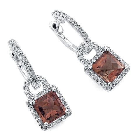 PINK TOURMALINE DIAMOND HALO EARRINGS 18K WHITE GOLD 2.75CTW