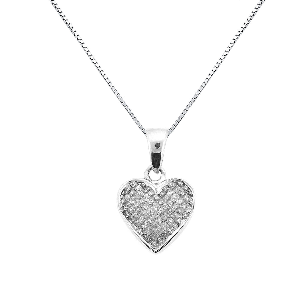 Diamond heart pendant with invisible set diamonds in 14k white diamond heart pendant with invisible set diamonds in 14k white gold 049ctw aloadofball Images