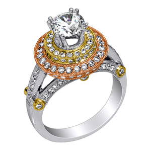 Pave Set Double Halo Diamond Engagement Ring in 18kt (1.00 ctw) for a 1ct Round