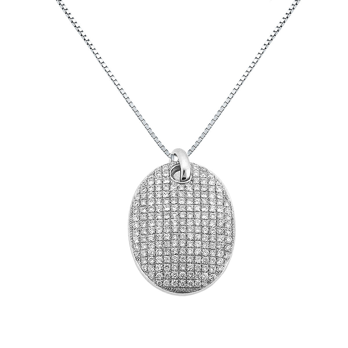 DIAMOND PENDANT OVAL MICRO PAVE NECKLACE IN 18K WHITE GOLD 0.75CTW