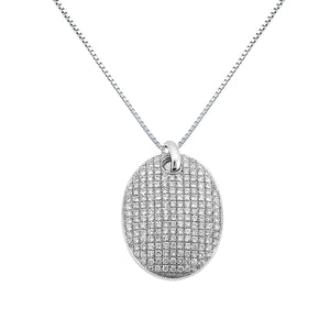DIAMOND PENDANT NECKLACE OVAL MICRO PAVE 18K WHITE GOLD 0.80CTW