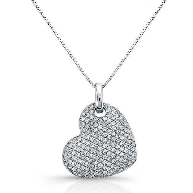 DAZZLING HEART SHAPED DIAMOND HEART PENDANT NECKLACE 18K WHITE GOLD 1CTW