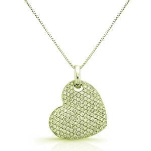 DAZZLING DIAMOND HEART PENDANT MICRO PAVE SET 18K YELLOW GOLD 0.32CTW
