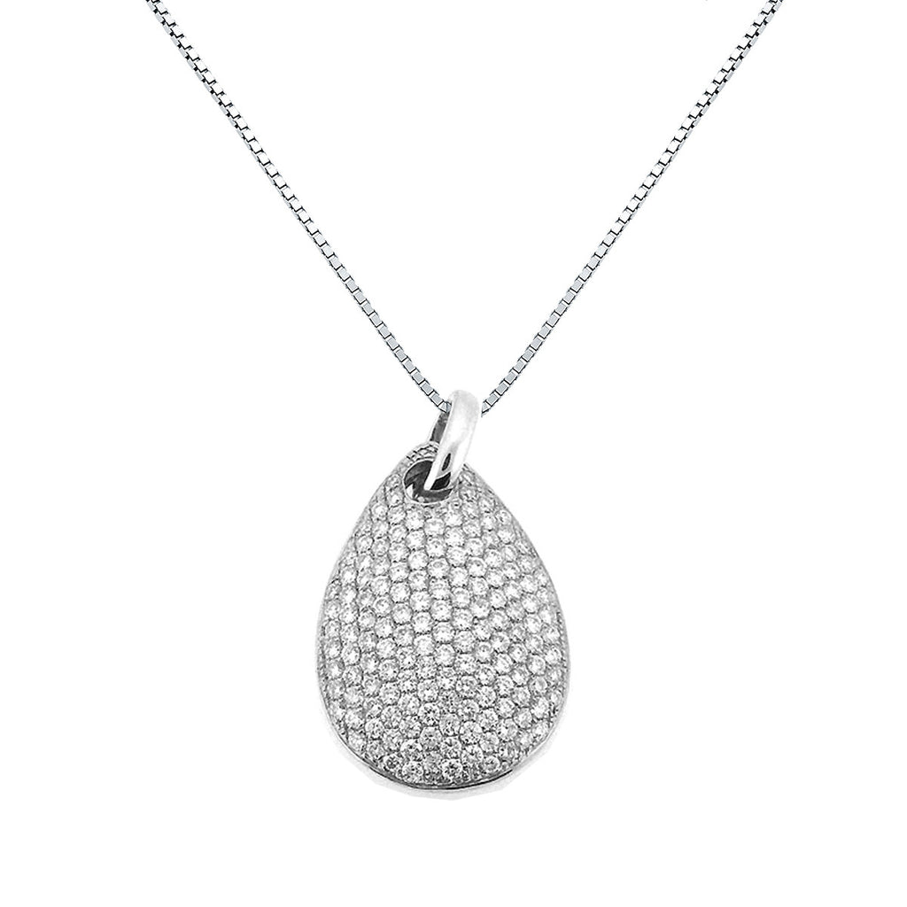 Perfect DIAMOND PENDANT PEAR SHAPED MICRO PAVE SET IN 18K WHITE GOLD 0.75  LJ07
